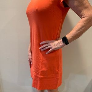 Coral color straight line light weight dress